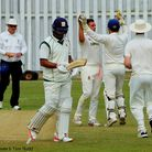Tom Nudd celebrates his maiden wicket for Norfolk after getting rid of Shiv Thakor Picture: TIM FERL