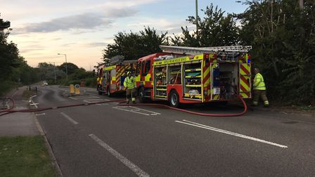Firefighters from Gorleston and Lowestoft tackled a fire at Corton Cliffs on Saturday. Picture: Suff