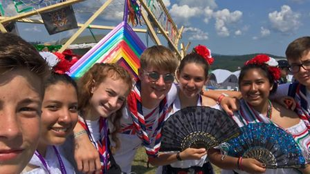 Unit 18 meet scouts from Mexico on culture day at the Jamboree at the World Scout Jamboree. Picture: