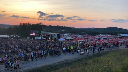 Sub Camp at sunset with live bands at the World Scout Jamboree. Picture: Penny Harris