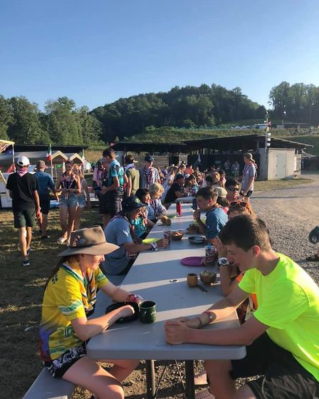 Lunchtime at the campsite at the World Scout Jamboree. Picture: Penny Harris