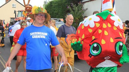 Sheringham Carnival procession, which this year stars a pair of life-sized elephant puppets.Photo: K