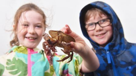 Abigail and Joseph Brumpton with a crab caught during the World Pier Crabbing Championships off Crom