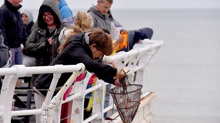 Competitors take part in the World Crabbing Championships off Cromer Pier. Picture: Nick Butcher
