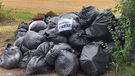 East Suffolk Council are investigating a fly tipping incident in Henstead, near Kessingland. Picture