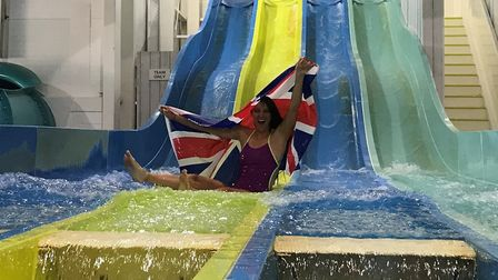 Double Olympic silver medallist, Jazz Carlin, officially opens the new Shore Water Park at Haven. Pi