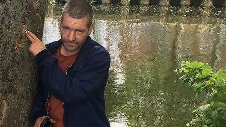 Michael Peck at the spot where a memorial to Norwich murder victim David Hastings was torn down. PIC