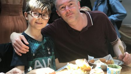 Dad and son enjoying a meal out at Platten's. Picture: Victoria Pertusa