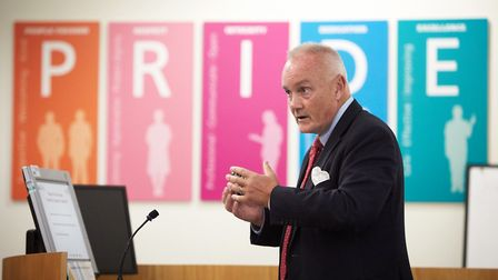 Mark Davies, Chief Executive of the NNUH talking at the AGM. Picture: Keiron Tovell