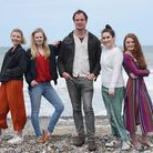 Alex Joseph, writer and director, with the cast of his film, Wrecking Ball, in Cromer. From left, Ta