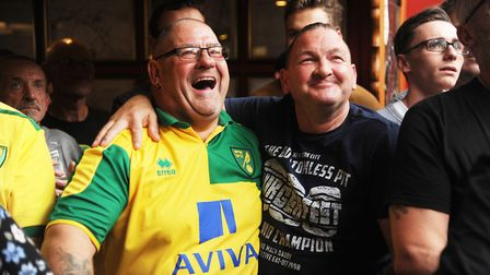 Norwich City fans watching the derby in the Coach and Horses. Picture: Ian Burt
