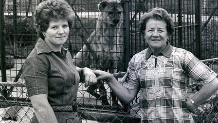 Mrs Olga Kerr, owner of the Cromer Zoo, with her daughter Francine, 29th June 1977. Picture: Archant