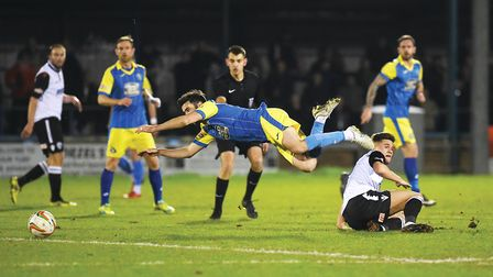 Simon Lappin is fouled during the game against Hereford at The Walks in 2018 Picture: Ian Burt