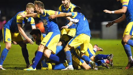 King's Lynn celebrate a dramatic winner the last time Hereford visited The Walks Picture: Ian Burt
