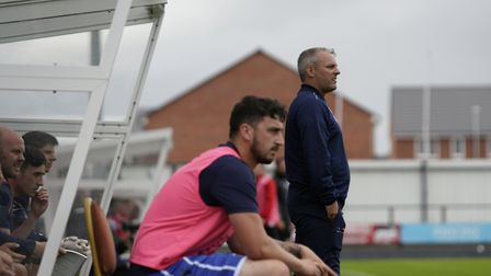 Lowestoft Town manager Jamie Godbold and Travis Cole watch the action at Hednesford Picture: Shirley
