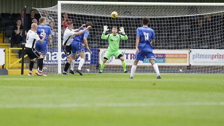 Lowestoft Town goalkeeper Luis Tibbles in action against Hednesford Picture: Shirley D Whitlow