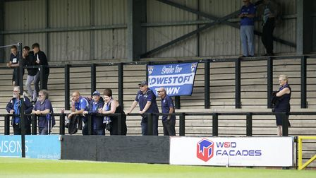 Lowestoft Town supporters at Hednesford Picture: Shirley D Whitlow