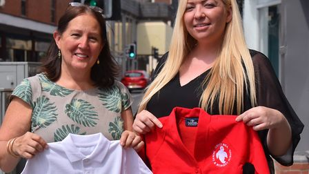 Nicole Karimi-Ghovanlou, left, with Stacy Brad, right, have set up a new school uniform bank to help
