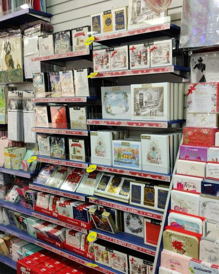 Christmas cards on display in August at Norwich Card Factory in Haymarket. Photo: Submitted