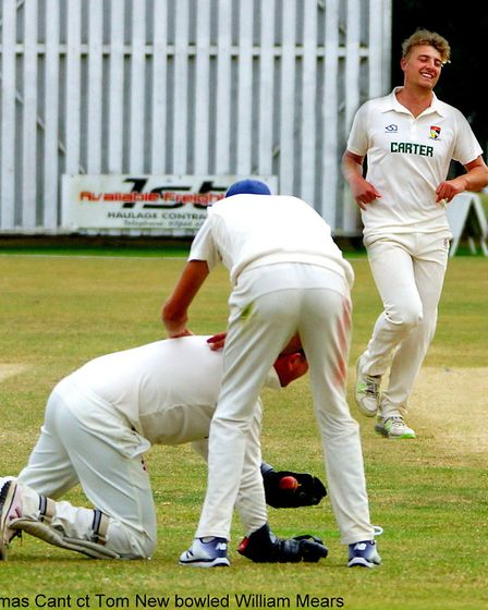 Delight for young seamer Will Means as Tom New catches Northumberland's Tom Cant to give the youngst