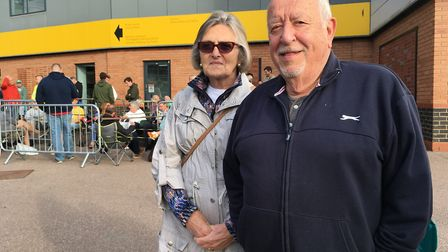 Penny and Dennis Ward from Chelmsford queuing at Carrow Road for tickets for Norwich City's match ag