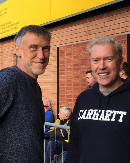 Brothers Adrian and Dan Hall queuing at Carrow Road for tickets for Norwich City's match against Wes