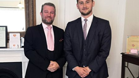Mark Hall (left) and Rhys Askham at Rosedale Funeral Home, Attleborough. Photo: Bethany Wales