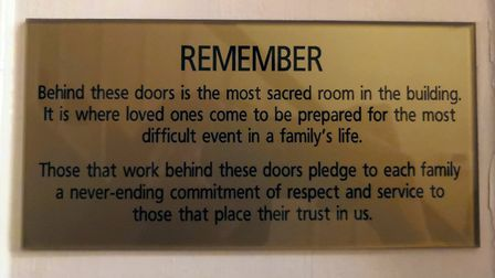 A plaque outside the morgue in Rosedale Funeral Home, Attleborough. Photo: Bethany Wales