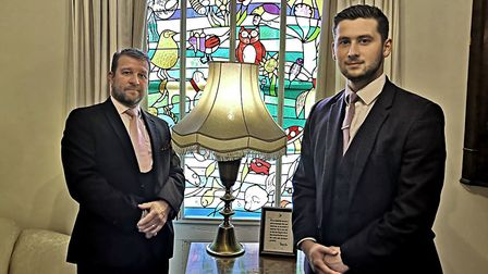 Mark Hall and Rhys Askham in the chapel of rest at Rosedale Funeral Home, Attleborough. Photo: Betha