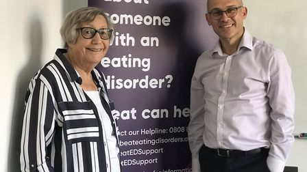 Nancy Pearce OBE, founder of Beat and chief executive Andrew Radford celebrate the 30th anniversary