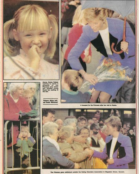 Coverage of when Princess Diana visited the Eating Disorder Association, now called Beat, in Norwich