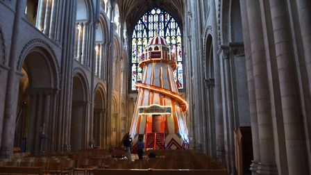 The Helter Skelter installed in Norwich Cathedral as part of their 'Seeing It Differently' projectBy
