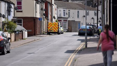 The police presence on South Market Road, Great Yarmouth. Picture: Jamie Honeywood