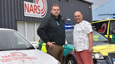 Kevin Bird meets the first responders from NARS in Dereham who saved his life when he suffered cardi