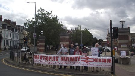 Protestors at NOR4NOR outside the Norwich train station today. Picture: NOR4NOR