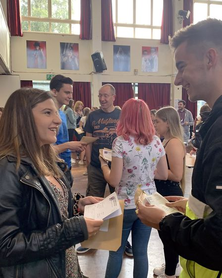 Students at Hellesdon High School celebrate their A-Level results. Picture: The Wensum Trust