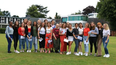 Norwich High School for Girls students celebrate their A-Level results. Picture: Norwich High School