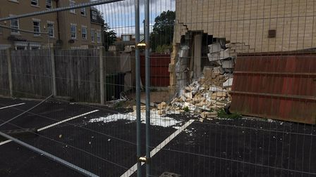 A car crashed into a building on Gorleston High Street on Tuesday (August 20). Picture: Joseph Norto