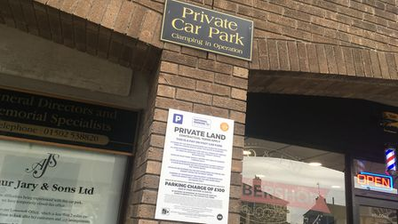 New signs at the Outlon Broad car park warning drivers to pay-and-display or face a fine. Photo: Mat