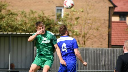 An aerial due during last Saturday's match between Godmanchester Rovers and Gorleston Picture: DAVID