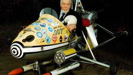 Wing Commander Kenneth Wallis with one of his auto gyro aircraft at his home in Reymerston, Norfolk,