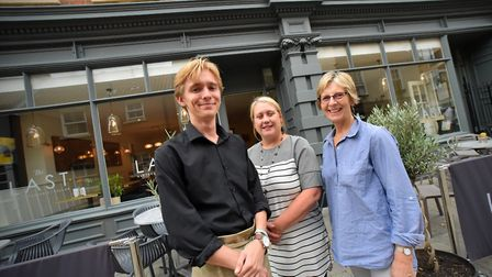 From left, Billy Utting, Waiter, Emma Neal, Front of House Manager, and Lynda Baxter, Director, at t