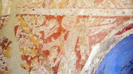 Wall paintings at St Mary the Virgin Church in Houghton on the Hill . Picture: Matthew Usher.