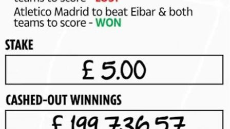 An unknown punter from Lowestoft won just shy of £200,000 from a £5 accumulator bet. Photo: Ladbroke