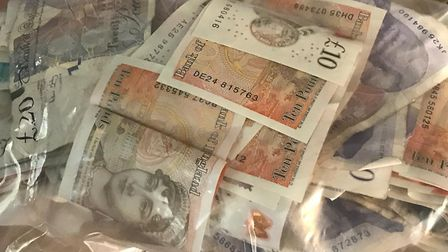Norwich police seized more than £1,000 of suspected drug money. Pic: Norfolk Constabulary.
