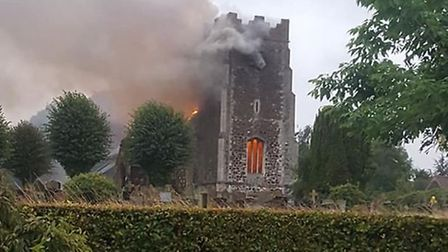 Firefighters are battling a blaze at the church in Wimbotsham. Picture Anne Bloy.