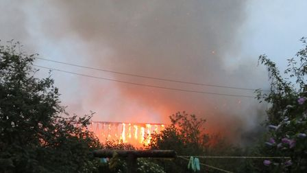 The roof of St Mary's in Wimbotsham was destroyed in the blaze. Pic: Anna Chase.