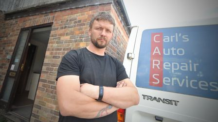 Carl Purkiss at Carls Auto Repair Services, North Walsham. Picture: Jamie Honeywood