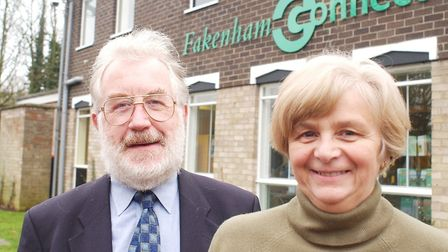 The then-outgoing Fakenham town clerk, Robin Roberson, with successor Christine Harrow in early 2002