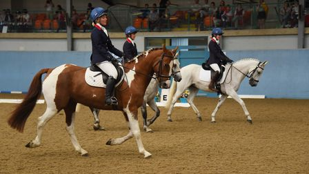 The Great Britain team, from left, Emily Latham-Taylor, Libby Seed, and Sophia Ramsoy, taking part i
